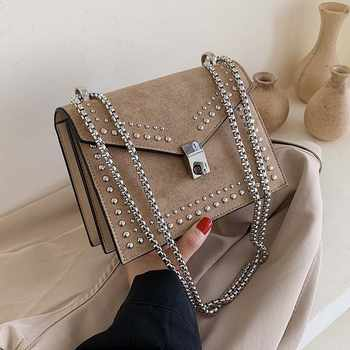 Scrub Leather Small Shoulder Messenger Bags For Women 2019 Chain Rivet Lock Crossbody Bag Female Travel Mini Bags - DISCOUNT ITEM  40% OFF All Category