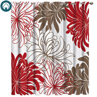 Floral Red Chrysanthemum Curtains Large Window Living Room Curtains Kitchen Indoor Window High Blackout Curtain