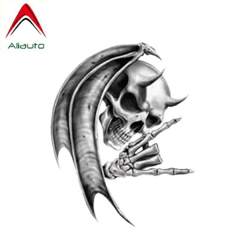 Aliauto สติกเกอร์รถความคิดสร้างสรรค์ปีศาจตายกะโหลกศีรษะสะท้อนแสง PVC รูปลอกรอยขีดข่วนสำหรับ Hyundai Tucson Suzuki Touran ,14 ซม.* 11 ซม.