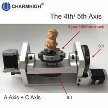 Mandril de K01 100mm CNC 4th Axis / 5th Axis ( A aixs / Rotary Axis) para enrutador CNC DIY, envío gratis