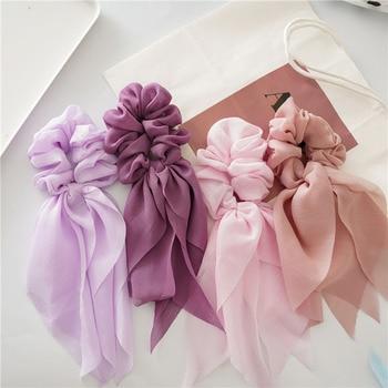 Lazos de gasa de doble capa para niña y mujer, cintas largas para el pelo, cintas elásticas para el pelo, coletero