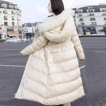 Натуральный Лисий мех двойной меховой воротник белый утиный пуховик длинный участок тонкий дисплей дамское пальто