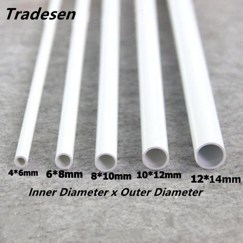 2pcs 50cm O.D 6mm To14mm White PVC Pipe Hi-quality Water Supply Pipe Irrigation Fish Tank PVC Pipe Aquarium Drainpipe Water Tube