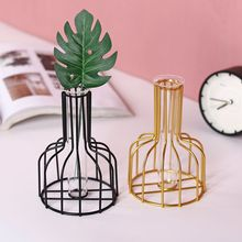 Nordic Golden Vase Glass Test Tube Hydroponic Vases Metal Dried Flower Stand Ornaments Living Room Home Decoration Accessories nordic style high quality desktop furnishings glass vases wedding home decoration accessories ornaments flower pot pen holder 40