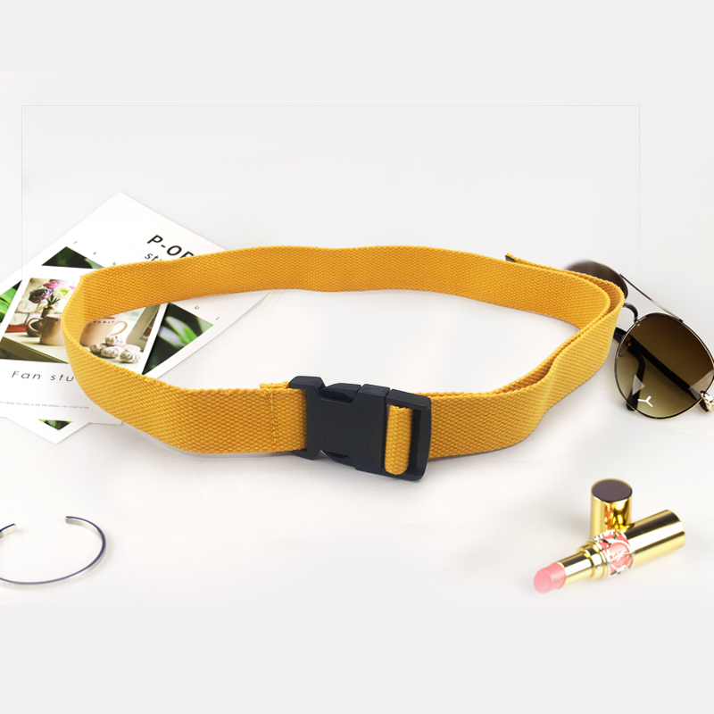 Модный черный холщовый ремень для женщин, повседневные женские поясные ремни с пластиковой пряжкой Harajuku, однотонные длинные ремни ceinture femme - Цвет: Yellow