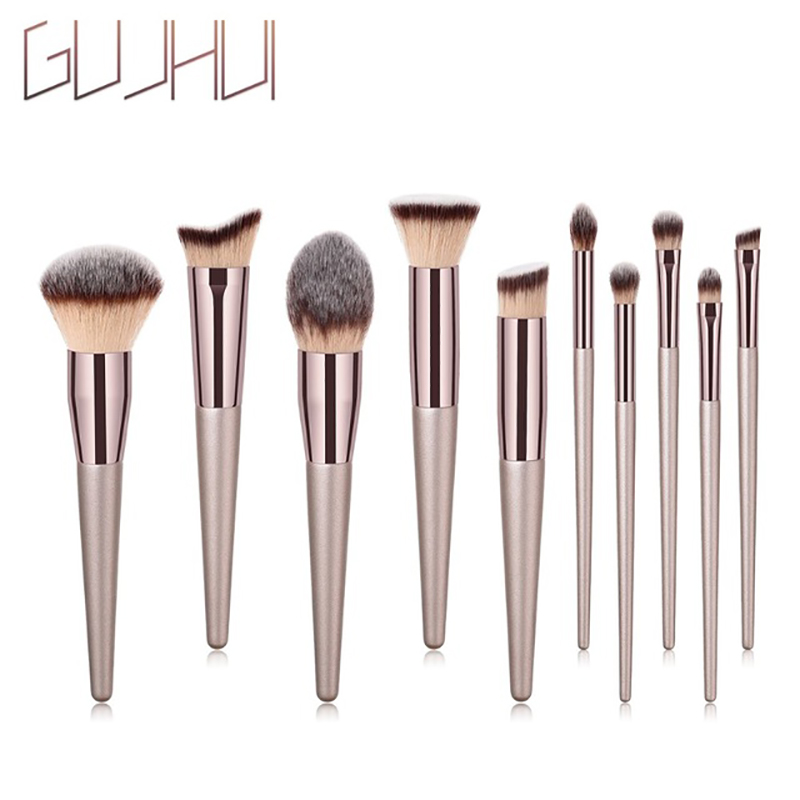 New 10PCS Powder Rose Gold Set Brush Shape Oval Crystal Makeup Brush Set Professional Foundation Powder Brush Kits Dfdf