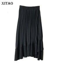 Irregular-Skirt Women XITAO Summer Ruffles High-Waist Solid New-Fashion XJ4821 Spring