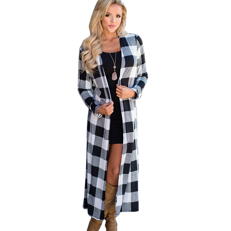 2 Color 4 Size Long Sleeve Loose Maxi Cardigan Outwear Cardigan Women 2018 Long Plaid Long Coats And Jackets Casual