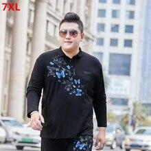Big size lapel men's youth plus size Polo shirt  long sleeves loose large size  men polo shirt  6xl 7xl 9xl