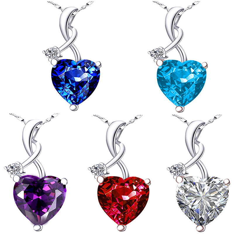 S925 Silver Color Necklace Blue Sapphire Pendant Women Heart Red Ruby Topaz Pierscionki Bizuteria Gemstone S925 Jewelry Pendant