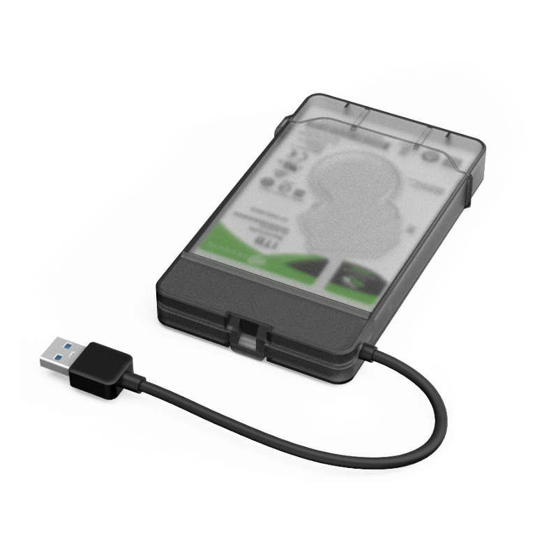 <font><b>2.5</b></font> <font><b>Inch</b></font> Transparent <font><b>HDD</b></font> SSD Enclosure Case <font><b>SATA</b></font> to USB 3.0 External <font><b>Hard</b></font> Disk <font><b>Drive</b></font> SSD Enclosure <font><b>Box</b></font> Adapter 5Gbps Support 1TB image