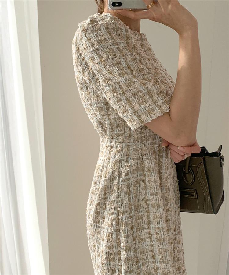 High Waist Casual Puff Sleeve Plaid Elegant Vintage Mini Dress 13