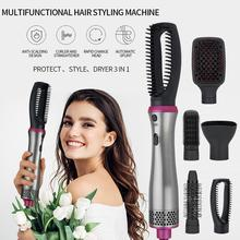 Hot Air Brush Set Ion Hair Dryer 1000W with 6 attachments, Hair Dryer, Straightener & Curler 360 Degre Rotating Flexible Cable