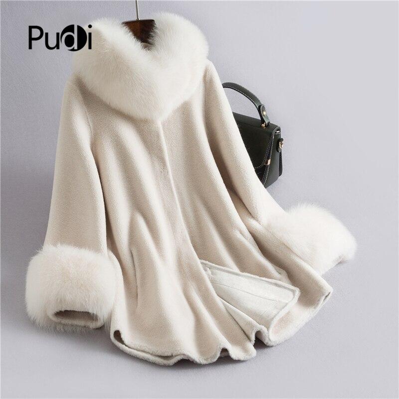 Pudi Real sheep fur coat jacket overcoat womens winter warm genuine coats  H632