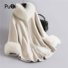 Pudi Real sheep fur coat jacket overcoat womens winter warm genuine coats  H632