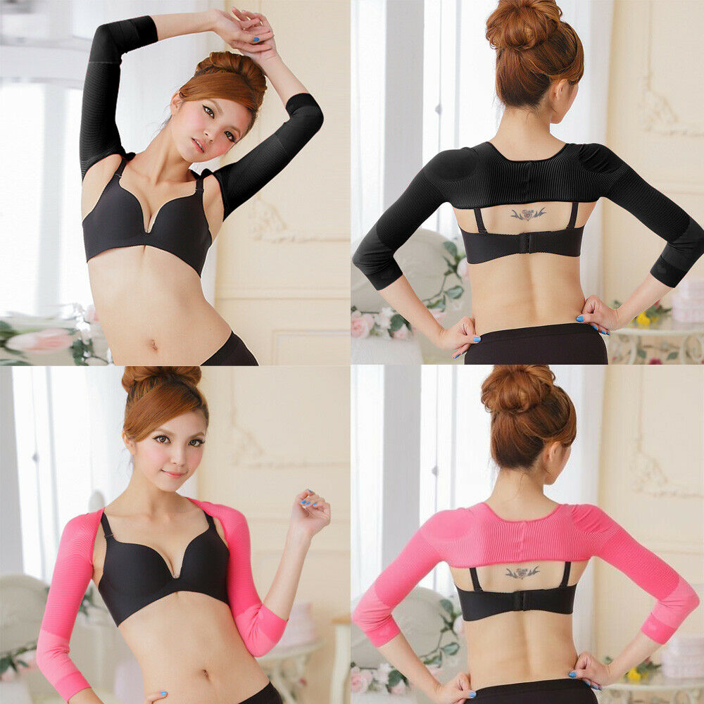 Women Arm Warms Solid Color Long Seamless Arm High Shaper Slim Upper Sleeves Ladies Compression Posture Corrector
