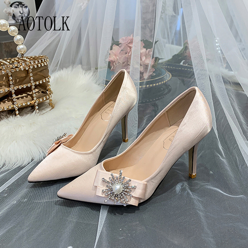 Luxury Woman Wedding Shoes High Heels Rhinestone Silk Woman Pumps Pointed Toe Brand Party Shoes Heels Plus Size New Arrival 2020