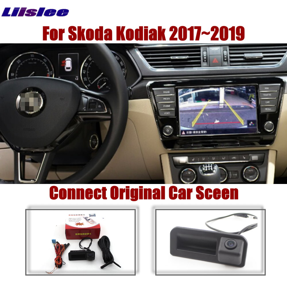 Original Screen Upgrade Reverse Dynamic Trajectory Parking Image Rear Camera Trunk Handle For Skoda Kodiak 2017 2018 2019