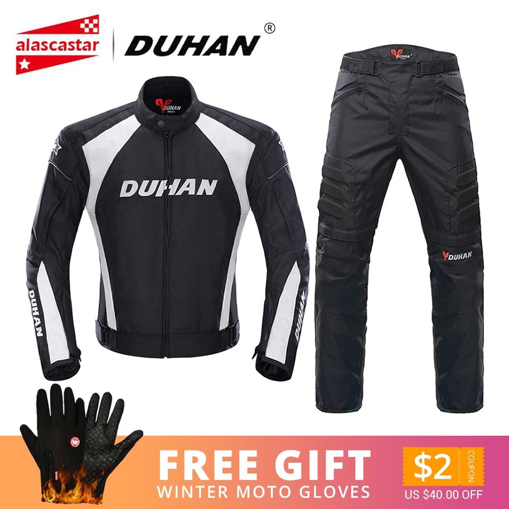 DUHAN Motorcycle Jacket Men Motocross Suits Jacket & Pants Moto Jacket Protective Gear Armor Motorcycle Clothing Riding Jacket