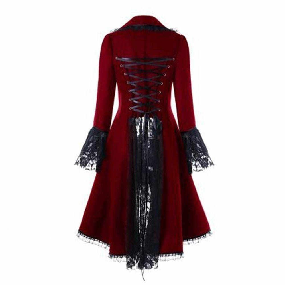 Kadınlar dantel Trim dantel-up yüksek düşük maliyetli siyah Steampunk viktorya tarzı gotik ceket ortaçağ asil mahkeme elbise S-5XL # F