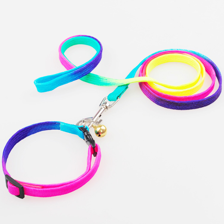 Color Pet Traction Rope Dog Chain Rainbow-colored Neck Ring-Cat Dog Traction Belt Set