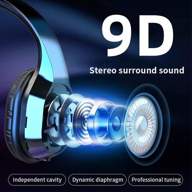 Nowe bezprzewodowe słuchawki Bluetooth 9D zestaw słuchawkowy Stereo składane słuchawki do gier muzycznych z mikrofonem karta FM TF redukcja szumów Heeadphon
