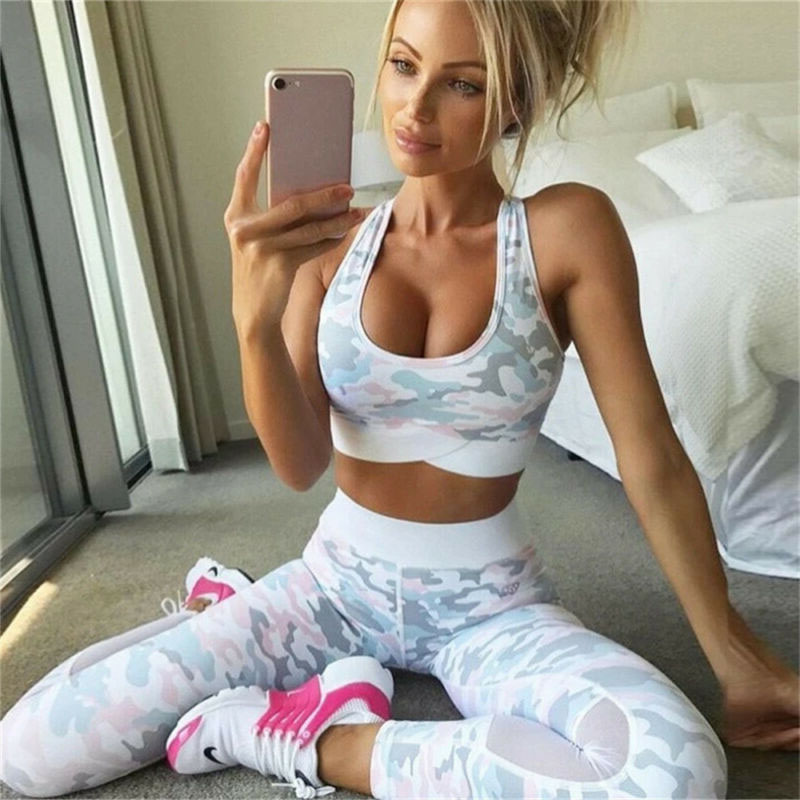 2 Pieces Yoga Set Women Workout Sports Bra And Fitness Leggings Sets Running Active Wear Gym Clothing Athletic Outfits