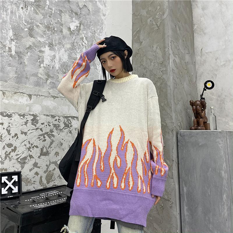 Sueter estilo Kawaii Noir con llamas rosas 18