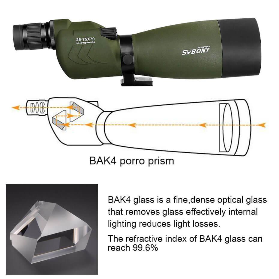 Svbone 25-75x70mm longue-vue SV17 BAK4 étanche droite 180 De Zoom télescope pour l'observation des oiseaux chasse F9326G - 5