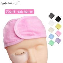 Faixa de cabeça para maquiagem, envoltório para cabeça de tecido elástico, toalha com fita mágica para extensão de cílios e spa