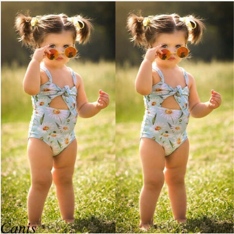 2019 Hot Selling Children Camisole One-piece Swimming Suit Girls Printed Swimwear Female Baby Crawling Clothes