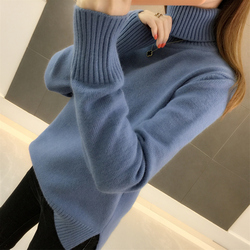 И зима 2020 новая Корейская версия свободного пуловера над-нагретый толстый сплошной цвет длинный рукав вязаный свитер