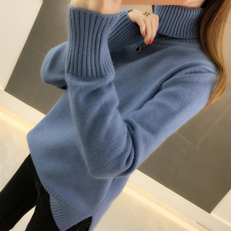 And Winter 2020 New Korean Version Loose Pullover Over Over-heated Thick Solid Color Long Sleeve Knitted Bottom Sweater