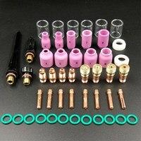 49PCS 용접 토치 Stubby 가스 렌즈 WP-17/18/26 TIG #10 Pyrex 유리 컵 키트 내구성 실용 용접 액세서리 사용하기 쉬운