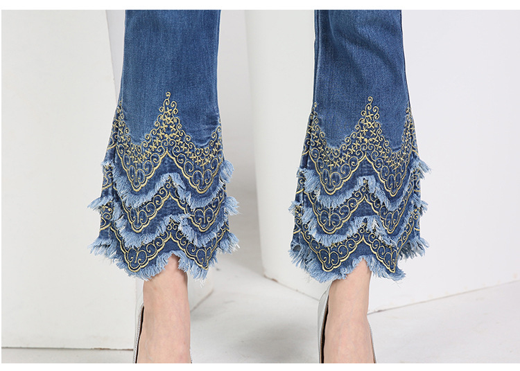 KSTUN FERZIGE Women's jeans brand stretch hight waist blue embroidered bootcut denim jeans flares slim fit women trousers large size 11