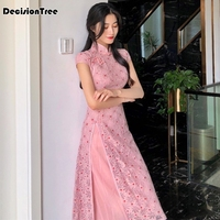 2019summer lace elegant wedding dress female cheongsam chinese traditional dress long qipao wedding party dressHigh sloping fork