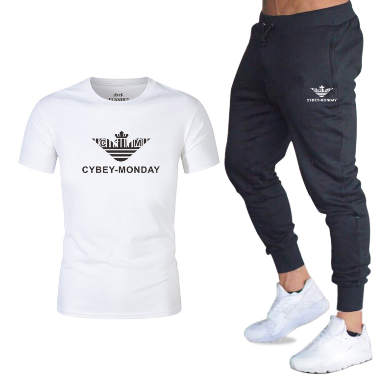 CYBEY-MONDAY--T-shirt Set Summer 100% Cotton Funny T-shirt Short Sleeve T-shirt Men's Fashion Brand Women's And Men's T-shirt