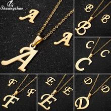 Shuangshuo Gold A -Z Letter Alphabet Pendant Necklace Set for Women Gi