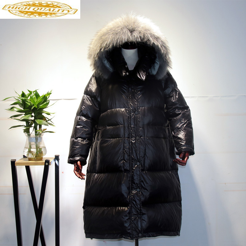 Down Coat Winter Long Duck Down Jacket Woman Hooded Korean Large Fur Collar Oversize Puffer Women's Jackets KJ2684