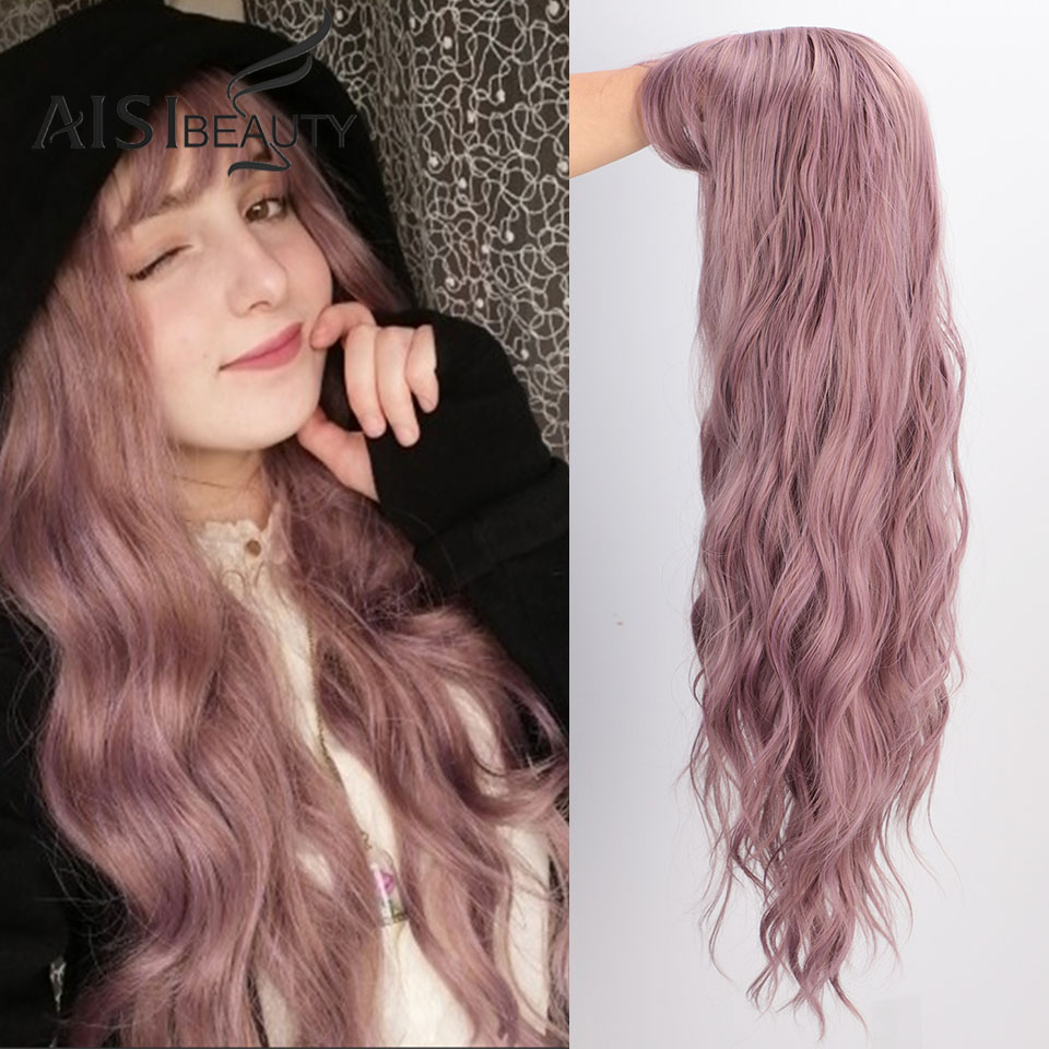 Aisibeauty Long Wavy  Wigs Women's Wig With Bangs Heat Resistant Synthetic Wavy Wigs For African American Fashion Cosplay Hairs