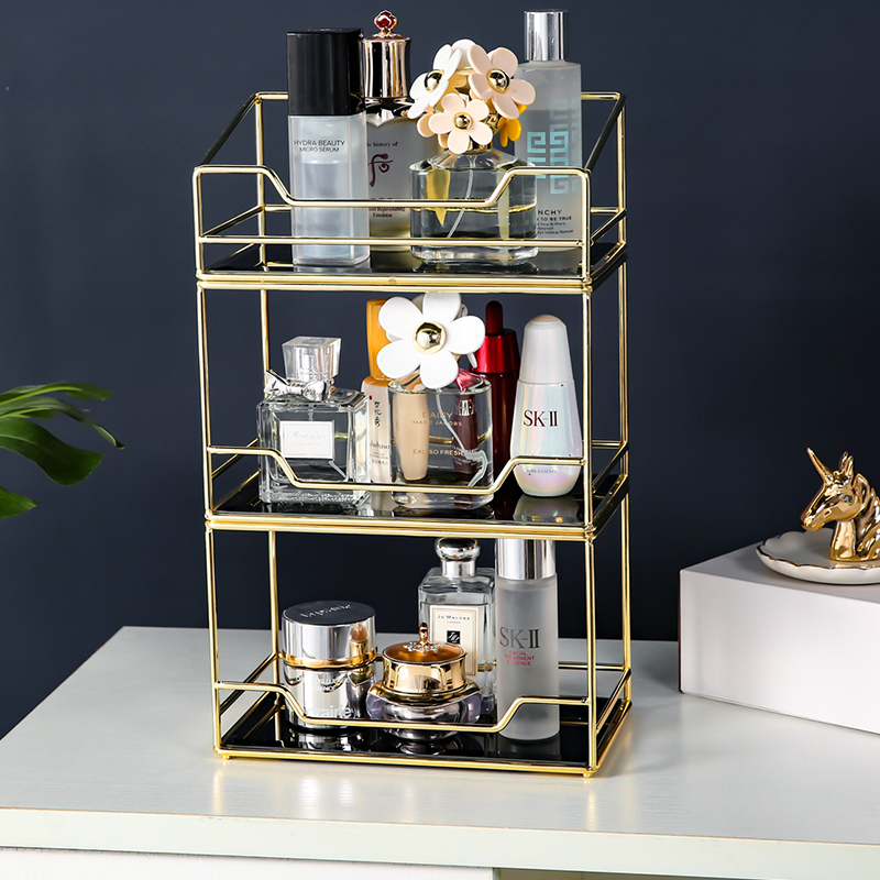 ANFEI New Arrivals Perfume Storage Organizer Metal Gold Lipstick Cosmetic Organizer Rotating Cake Display Organizer