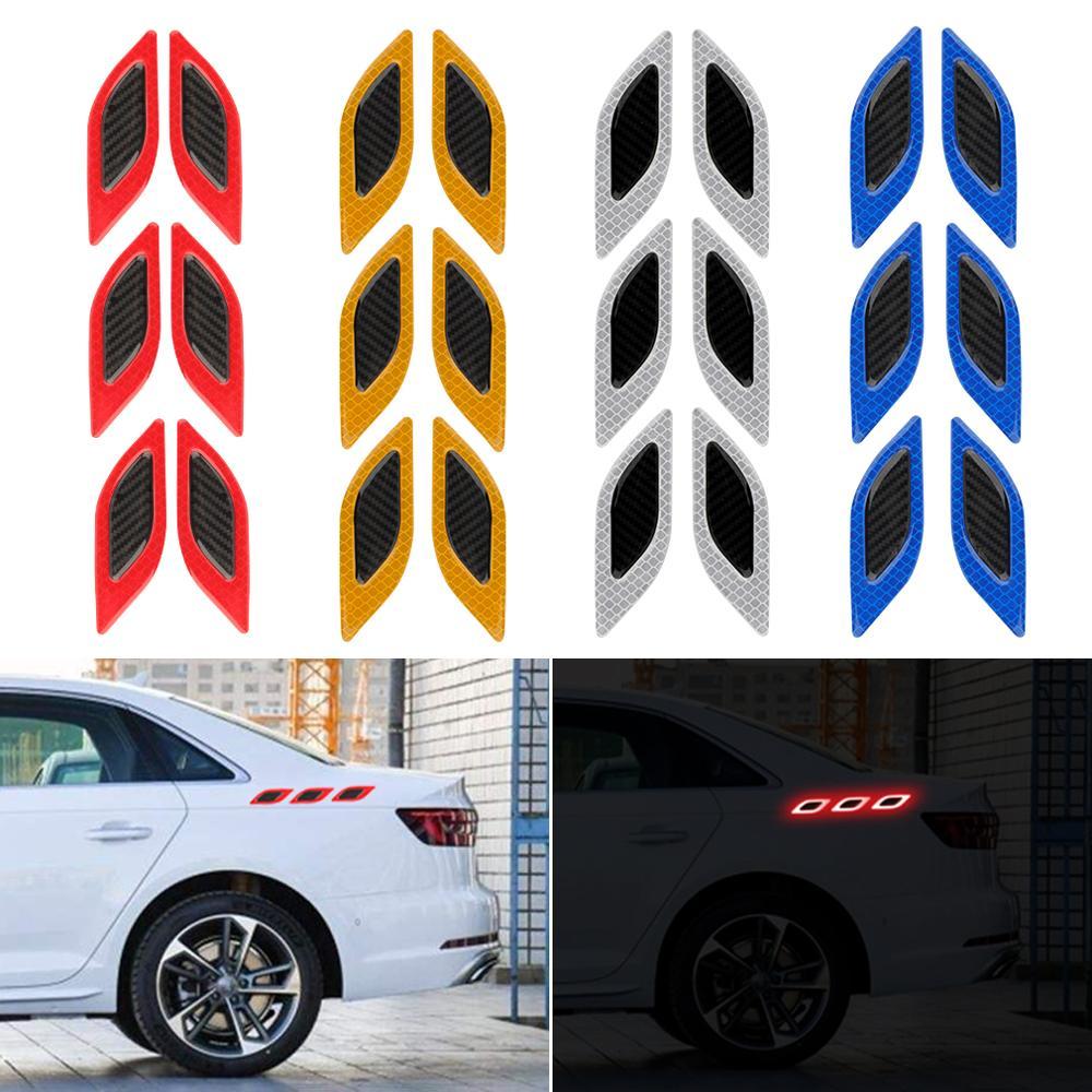 6 unids/set de tiras reflectantes universales para coche, pegatina para coche, Motor para camión, antiarañazos pegatina de advertencia de seguridad, cinta altamente reflectante