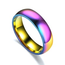 Rainbow color ring Glossy Face Couple Rings  for Women Men Kids Cool Boy 316L Stainless Steel Fashion Classic Colorful Jewelry
