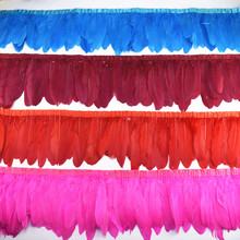 Sprzedaż hurtowa 10 metrów gęsie pióra wykończenia Fringe gęsi pióro wstążka czarne białe pióra dla rzemiosła ślub dekoracja z piór
