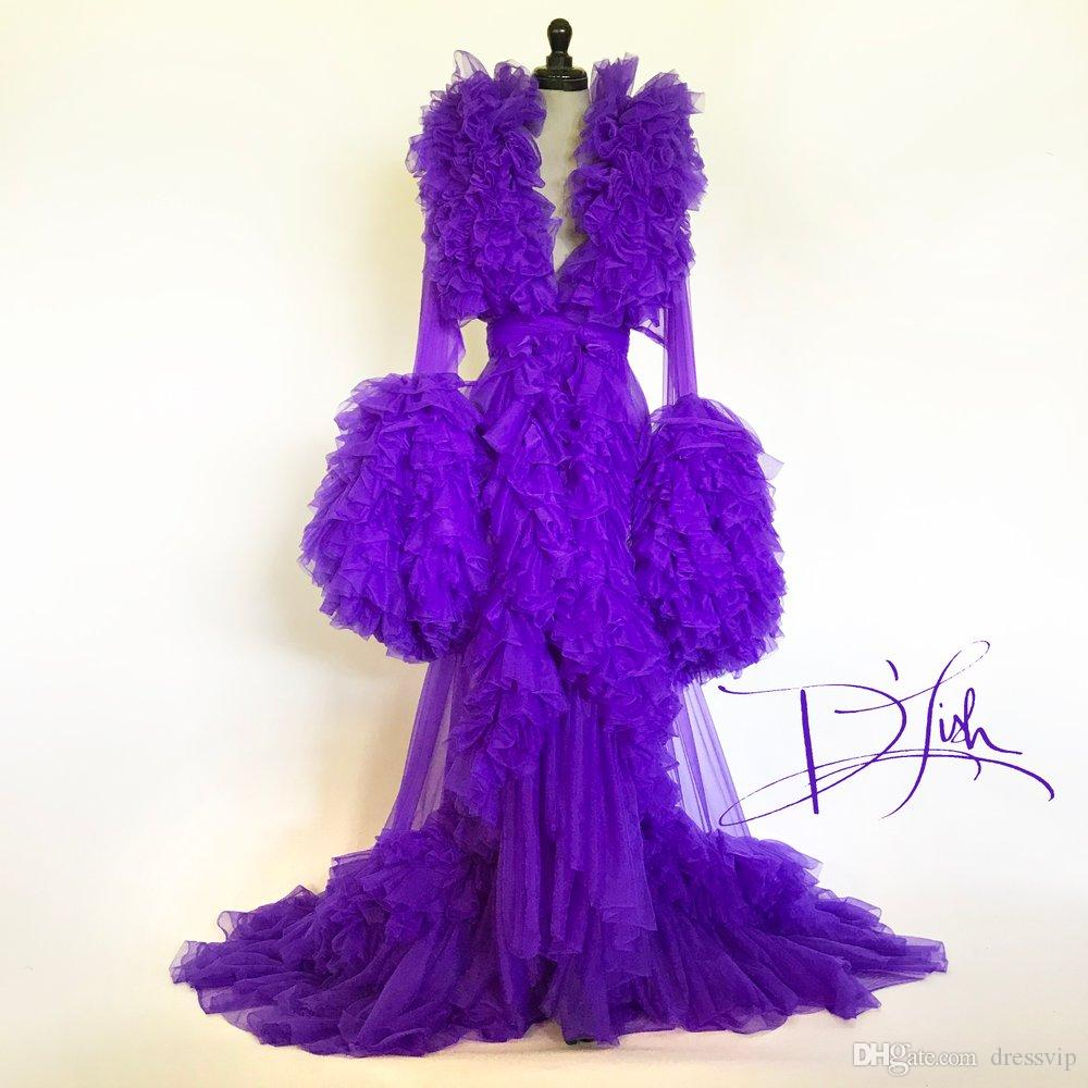 Imperial Grape Ruffled Nylon Chiffon Dressing Gown Ruffled Skirt Collar Long Sleeves Women NightGowns Sexy Robes