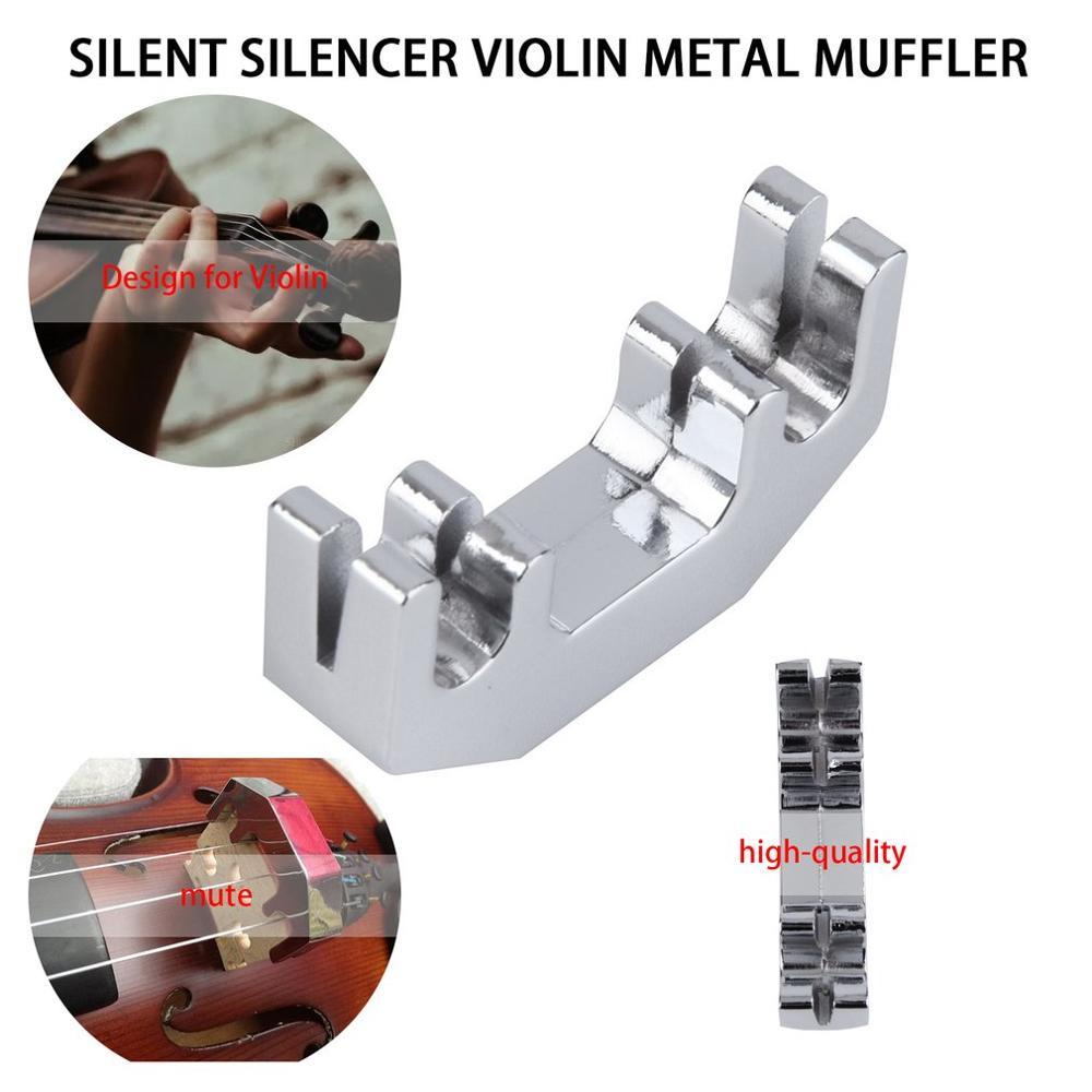 TSAI Mini Violin Practice Mute Metal Silver Fiddle Silent Silencer Violin Metal Muffler Design For Violin Players Pratical Use