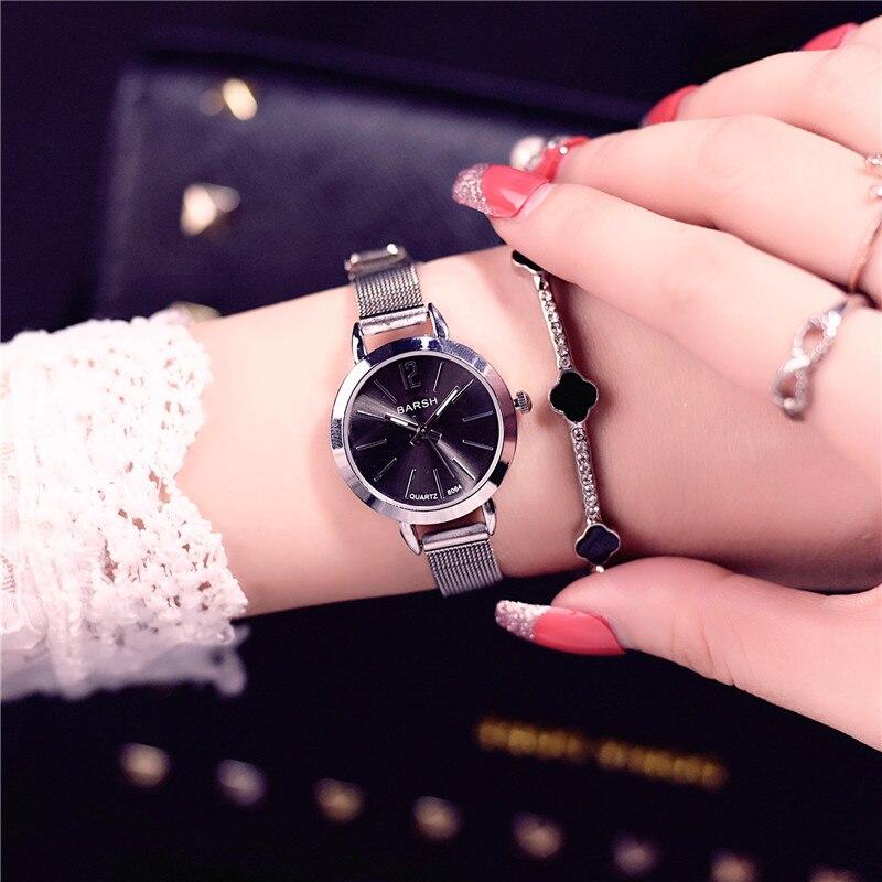 Роскошные женские модные повседневные часы из розового золота с простым циферблатом, женские кварцевые часы с сетчатым ремешком из нержаве...