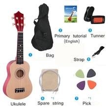 21 polegadas ukulele combo soprano 4 cordas uke baixo guitarra cordas instrumento musical conjunto kits tuner string strap saco iniciantes