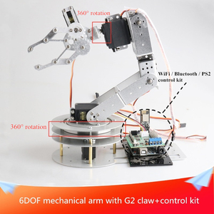 With Control Kit 6DOF Mechanical Arm with G2 Metal Claw 360-degree All-metal Rotating Base for DIY Arduino Remote Control