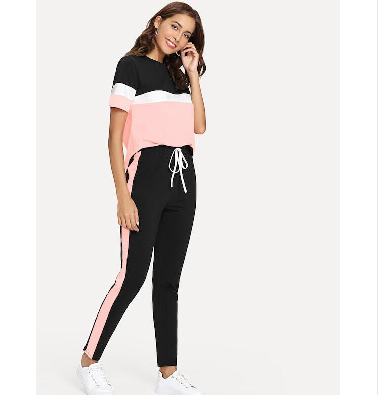 Color Block Tee And Drawstring Tape Pants Set Streetwear Short Sleeve Women Tracksuit 2019 Spring Casual 2 Piece Set
